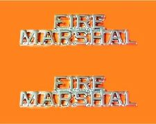 Fire Marshal Collar Pin Set Cut Out Letters Nickel Fire Dept Police Rank 2225