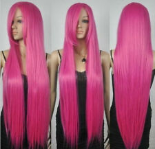 New Extra Long Straight Rapunzel Tangled Hot Pink Bangs Cosplay Hair Wigs  D216