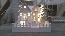 WHITE WOODEN PRE-LIT WARM WHITE LED VILLAGE NATIVITY SCENE CHRISTMAS DECORATION