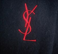 $225 New YVES SAINT LAURENT YSL Logo Dark Navy Wool Scarf  ITALY