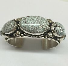 Navajo Indian Made Sterling Silver High Grade Dry Creek Turquoise Cuff Bracelet