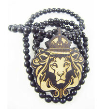 1 High Quality Hip-Hop Wood British king Lion Pendant Ball Beads Chain Necklace