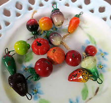 #10A Vintage Fruit Salad Charms Vegetable Drops Dangles clay Farm Market