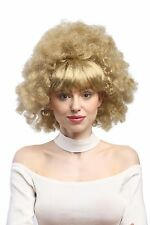 Damen Perücke Party 60er 70er Funk funky Afro Locken glatter Pony blond