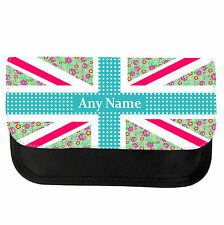 PERSONALISED FLOWER UNION JACK PENCIL CASE/MAKE UP BAG ANIVERSARY VALENTINES