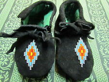 NATIVE AMERICAN 5 INCHES LONG BLACK LEATHER MOCCASINS SILVER BEAD VAMP