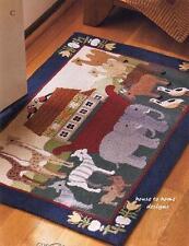 NOAH'S ARK ANIMAL HOOKED WOOL 2 X 3 RUG : NOAH BIBLICAL BABY NURSERY FLOOR MAT