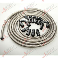 AN6 6AN STAINLESS STEEL BRAIDED OIL/FUEL HOSE +  BLACK FITTING HOSE END KIT