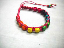 HOT PINK WEAVE w COLORFUL WOOD BEADS BLUE GREEN PURPLE TIE BRACELET OR ANKLET