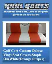 Club Car Precedent Golf Cart Custom Seat Covers-Front and Rear(White & Orange)