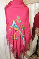 Red Floral Loro Aves Piano Chal Tassled-Ditsy Vintage 1930s