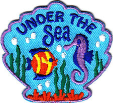 """UNDER THE SEA"" w/FISH & SEAHORSE ON SHELL PATCH- Iron On  Patch-,Ocean, Beach"