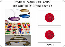 2 X STICKERS COVERED RESINATED WINE FLAG 3D EFFECT 70 mm X 50 mm JAPAN