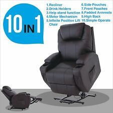 Power Lift Chair Recliner Armchair Real Leather Wall Hugger Lounge Seat Brown