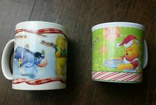 x2 Disney Winnie The Pooh Christmas Cups Mugs Ceramic Plastic Snow Tigger