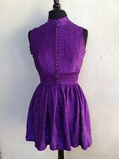 Vintage Mod Purple Metallic Mini Dress Buttons By Pat Richards Sz Xs