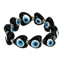 Evil Eye Bracelet in Black Murano Glass Hearts for Protection