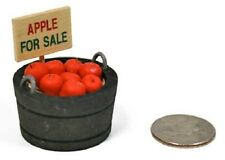 "Barrel/Basket of Apples ""For Sale"",Dollhouse Miniature Fairy/Faerie Gnome Garden"