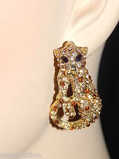 GLAMOROUS GOLD RHINESTONE JAGUAR CLIP EARRINGS