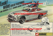 Corgi Toys 270 James Bond Aston Martin DB5 Poster Advert Leaflet Sign 1968 Large
