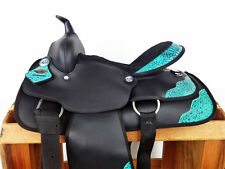 "14"" TURQUOISE BLACK SYNTHETIC WESTERN COWBOY PLEASURE TRAIL HORSE SADDLE TACK"
