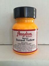 Angelus Neon Sunset Yellow leather paint 1 oz. bottle