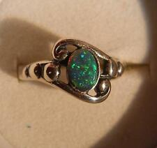 Sterling ring beautiful yellow green blue 0.50 ct natural Australian Black Opal