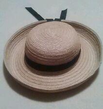 Vintage Ladies Women's Straw Hat by Facinie Canada Black Ribbon Band