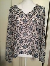 Women's Size XL Long Sleeve Blouse Aeropostale White Blues