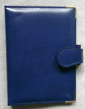 NEW PICCADILLY LEATHER BLUE POCKET SIZE FILE ORGANISER WALLET 15mm DIAMETER