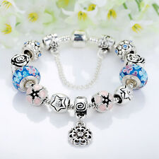 Fashion Flower Silver Glass Bead Charm Bracelet With Blue Crystal Fit Women Gift