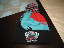 MITCHELL AND NESS VANCOUVER GRIZZLIES PAINT SPLATTER CUFFED KNIT POM BEANIE NWT