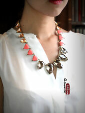 Collier Chaine Art Deco Triangle Saumon Ambré Vintage Original Ancien AZ2