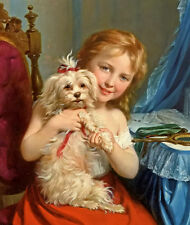 Oil painting fritz zuber buhler - a young girl with a bichon frise in toilet art