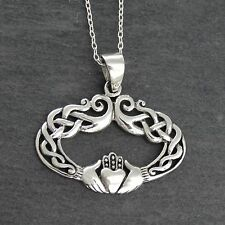 Irish Claddagh Necklace - 925 Sterling Silver - Celtic Knot Oval Pendant NEW