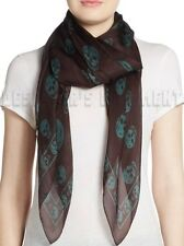 "ALEXANDER MCQUEEN dark Brown with Teal SKULLS silk Chiffon 41x47"" scarf NWT Auth"