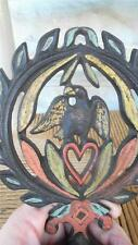 PRIMITIVE CAST IRON CANDLE HOLDER J.Z.H. handpainted EAGLE & HEART