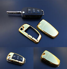 GOLD Audi Remote Flip Key Cover Case Skin Shell Cap Fob Protection Hull S Line -