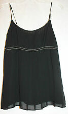 NWT SZ S THE LIMITED BLACK LINED SILK ADJUST STRAP PLEAT EMPIRE TOP SILVER TRIM