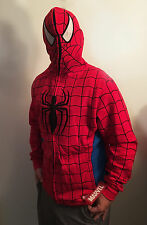 NEW Men's Marvel Spidey Spider-Man Hoodie Zip-up With Mask Jacket Costume Large