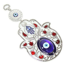 "Turkish Blue Evil Eye 5"" Hamsa Hand Flower Amulet Wall Hanging Protection Decor"