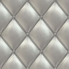 Wallpaper Grandeco Exposed leather chesterfield style 3D silver PE-01-03-2 (2,16