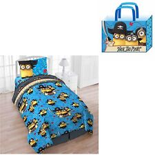 Minions Twin Comforter Bed Sheet Set Reversible Walk the Plank with Tote 4pc New