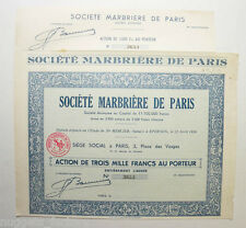 Action ancienne : Ste marbriere de Paris ( 435 )