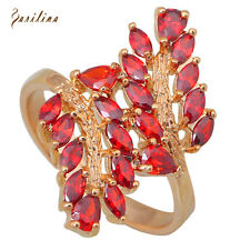 AR209 Brilliant Party Jewelry Red Cubic Zirconia 18K Gold Garnet women's Rings 7