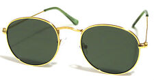 Oval Round Sunglasses Retro #Ora #Miley #Gigi Style Gold Frames Green Lens