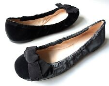 new PRADA dark gray velvet rounded toe BOW flats shoes 35 US 5 - super cute