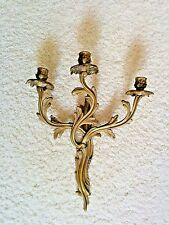 HEAVY French Provincial Art Nouveau Brass Wall Sconce Candle Holder Antique