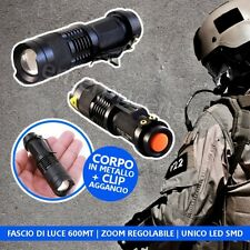 TORCIA SOFTAIR TATTICA A LED 5000 LUMENS XENON  ZOOM RICARICABILE MILITARE NERA