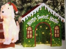 Glittering Fluffy Christmas Dog & Doghouse Light Mesh Sculpture Christmas Decor
